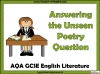 AQA GCSE English Literature Unseen Poetry Teaching Resources (slide 1/60)