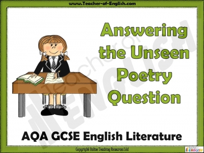 AQA GCSE English Literature Unseen Poetry Teaching Resources