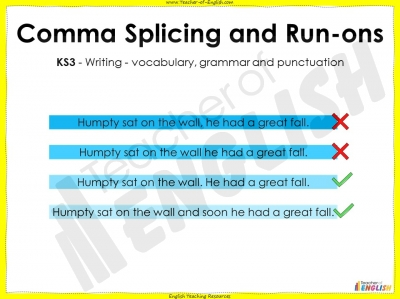Comma Splicing and Run-ons - KS3