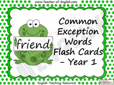 Common Exception Words Flash Cards - Year 1