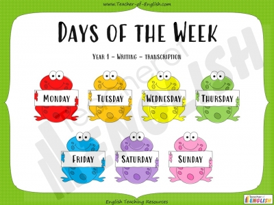Days of the Week - Year 1 Teaching Resources