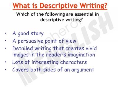 Example Descriptive Writing Form B Descriptive Writing