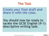 GCSE English (9-1) Writing Fiction - Descriptive Writing (slide 90/91)