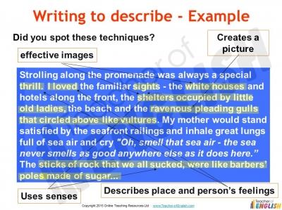 Descriptive Writing (slide 68/91)