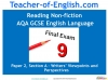 NEW AQA GCSE English (9-1) Reading Non-fiction Texts Teaching Resources (slide 1/95)
