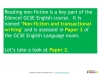 NEW Edexcel GCSE English (9-1) Reading Non-fiction Texts (slide 84/94)