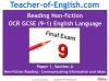 NEW OCR GCSE English (9-1) Reading Non-fiction Texts (slide 1/95)