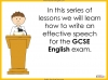Speech Writing for GCSE Teaching Resources (slide 3/72)