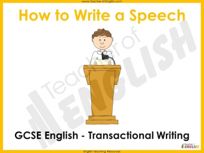 Speech Writing for GCSE Teaching Resources