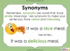 Synonyms - Year 3 and 4 Teaching Resources (slide 23/24)