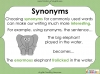 Synonyms - Year 3 and 4 Teaching Resources (slide 7/24)