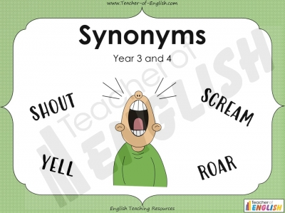 Synonyms - Year 3 and 4 Teaching Resources