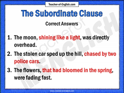 The Subordinate Clause teaching resources - 10 slide Powerpoint