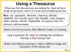 Using a Thesaurus Teaching Resources (slide 7/9)
