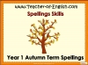 Year 1 Autumn Term Spellings Teaching Resources (slide 1/22)