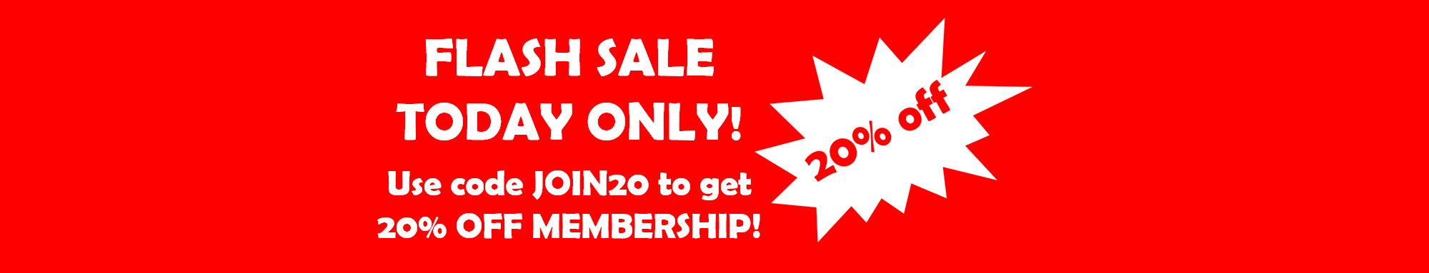 20% off membership with code JOIN20 today only